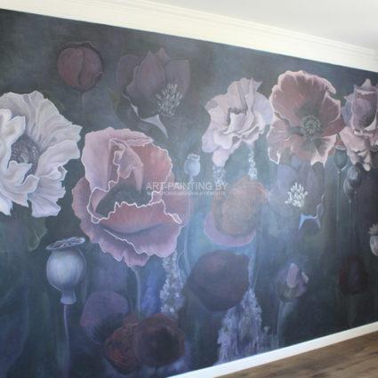Роспись стен в спальной комнате