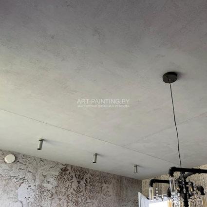Декоративная штукатурка под бетон на потолке
