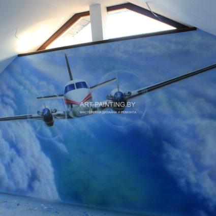 Роспись самолет в детской комнате