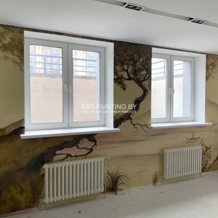 Роспись в китайском стиле на стене