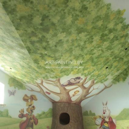 """Роспись стен по сказке """"Алиса в стране чудес"""""""