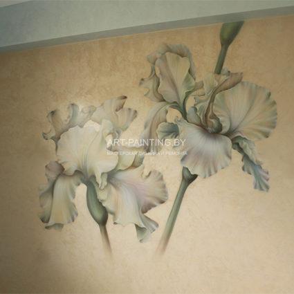 """Роспись на стене цветы """"Ирисы"""""""